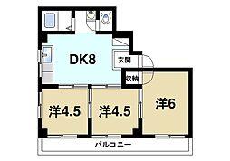 M'S天理 3階3DKの間取り