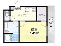 阪急京都本線 正雀駅 徒歩10分の賃貸アパート 2階1Kの間取り