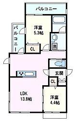 阪神本線 芦屋駅 徒歩2分の賃貸マンション 3階2LDKの間取り