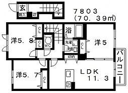 ラ・フルールI[205号室号室]の間取り