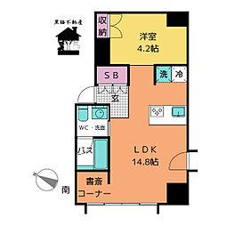 愛知県名古屋市西区則武新町4丁目の賃貸マンションの間取り