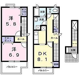 ライジング サン クレール II[2階]の間取り