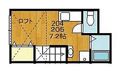 東京都世田谷区松原5丁目の賃貸アパートの間取り