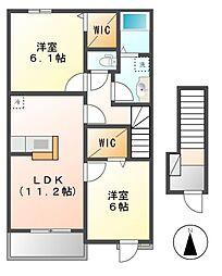 長野県上田市御嶽堂の賃貸アパートの間取り