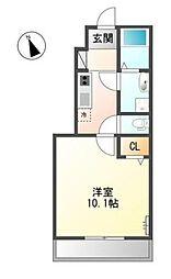 滋賀県東近江市八日市上之町の賃貸アパートの間取り