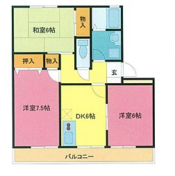 埼玉県さいたま市緑区中尾の賃貸アパートの間取り