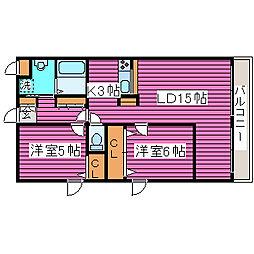 北海道札幌市北区あいの里三条9丁目の賃貸マンションの間取り