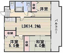 岡山県岡山市北区青江2丁目の賃貸マンションの間取り