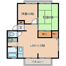 千葉県松戸市栄町4丁目の賃貸アパートの間取り