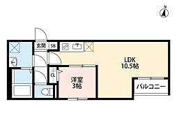 JR埼京線 与野本町駅 徒歩12分の賃貸アパート 1階1LDKの間取り