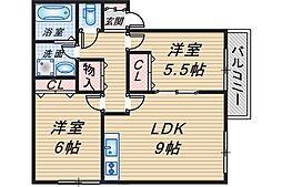 大阪府豊中市春日町3丁目の賃貸アパートの間取り