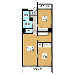 パ−クサイド津島[3階]の間取り