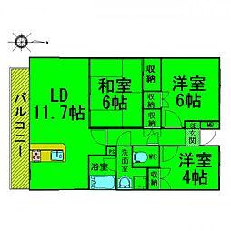 東京都東久留米市中央町1丁目の賃貸マンションの間取り
