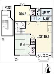 サンフォレストII[2階]の間取り