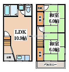 [テラスハウス] 大阪府東大阪市中石切町2丁目 の賃貸【/】の間取り