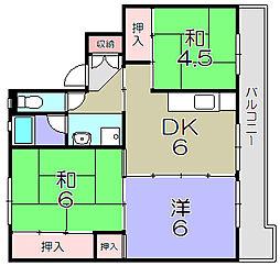 ビレッジハウスひの1号棟[4階]の間取り