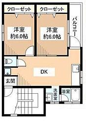 千葉県松戸市二十世紀が丘萩町の賃貸アパートの間取り