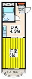 JR山陽本線 五日市駅 徒歩10分の賃貸マンション 2階1DKの間取り