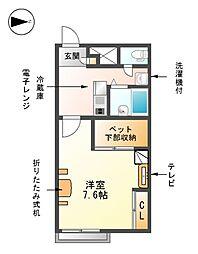 愛知県あま市篠田新割の賃貸アパートの間取り