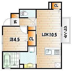 仮)D-room蒲生H B棟[1階]の間取り