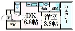 JR山陽本線 広島駅 徒歩7分の賃貸マンション 4階1DKの間取り