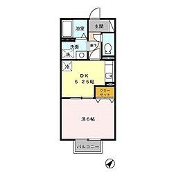 JR日豊本線 帖佐駅 徒歩9分の賃貸アパート 2階1DKの間取り
