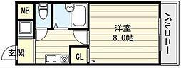 大阪府東大阪市足代3の賃貸マンションの間取り