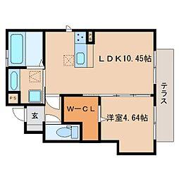 近鉄橿原線 新ノ口駅 徒歩9分の賃貸アパート 1階1LDKの間取り