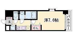Luxe神戸WEST 6階1Kの間取り