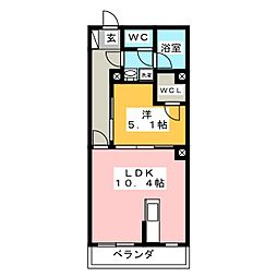 エターナル横浜 1階1LDKの間取り