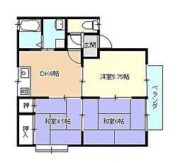 広島県広島市安佐南区西原2丁目の賃貸アパートの間取り