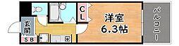JR東海道・山陽本線 灘駅 徒歩1分の賃貸マンション 8階1Kの間取り