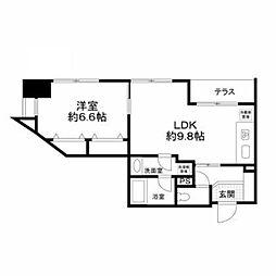 東京都千代田区飯田橋2丁目の賃貸マンションの間取り