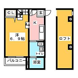 リアンジュ筥松[2階]の間取り