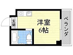 ジオナ柴島1 2階ワンルームの間取り
