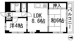 兵庫県西宮市段上町3丁目の賃貸マンションの間取り