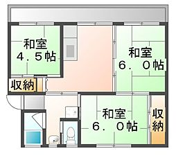 広島県福山市能島3丁目の賃貸マンションの間取り