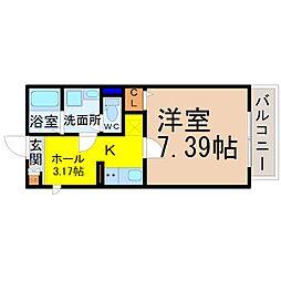 Gallery庄内通(ギャラリー庄内通) 1階1SKの間取り