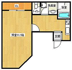 京阪本線 三条駅 徒歩4分の賃貸マンション 1階1Kの間取り