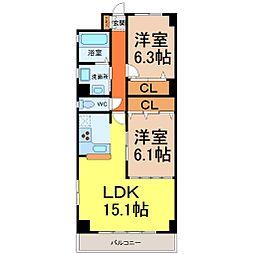 愛知県名古屋市東区新出来2丁目の賃貸マンションの間取り