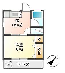 東京都日野市旭が丘1丁目の賃貸アパートの間取り