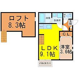 愛知県名古屋市北区中杉町3丁目の賃貸アパートの間取り