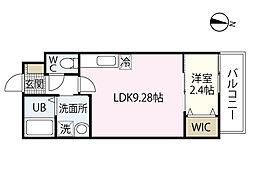 セブンプロート江波二本松2丁目 2階1LDKの間取り