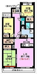 パレスヤマゴ(3F)[3階]の間取り