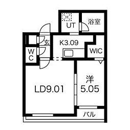 札幌市営東豊線 豊水すすきの駅 徒歩3分の賃貸マンション 1階1LDKの間取り