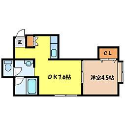 北海道札幌市中央区南八条西6丁目の賃貸アパートの間取り