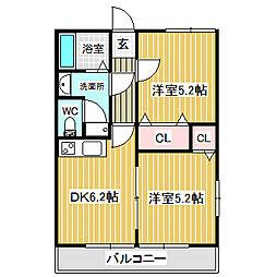 愛知県名古屋市中川区新家1丁目の賃貸アパートの間取り