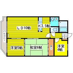 北海道札幌市東区北二十一条東10丁目の賃貸マンションの間取り