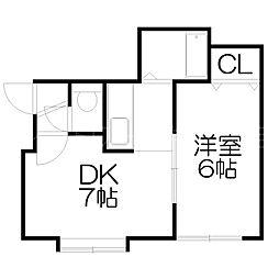 北海道札幌市白石区栄通15丁目の賃貸アパートの間取り