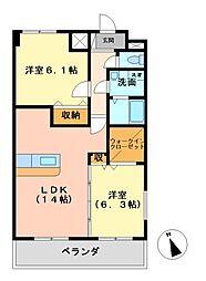 プラシードUI[4階]の間取り